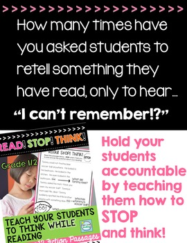 Reading Comp Passages ~ THINK While You Read