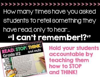 Reading Comp Passages: Stop Think and JOT