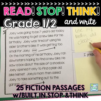 Reading Comp Passages: Stop Think and Write