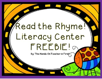 Read The Rhyme: Rhyming Center FREEBIE