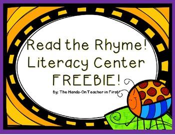 Read The Rhyme: Rhyming Center FREEBIE