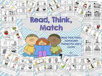 Read, Think, Match Worksheets for Every Month!