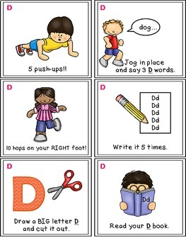 Alphabet Activities - Letter Sounds - Read, Think & Move Task Cards - D