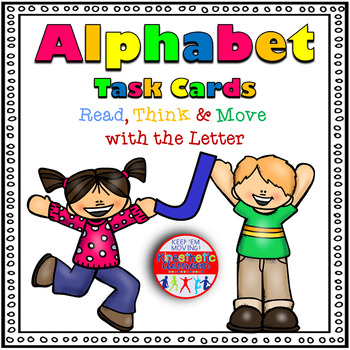 Alphabet Activities - Letter Sounds - Read, Think & Move Task Cards - J
