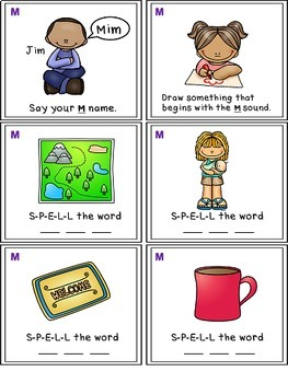 Alphabet Activities - Letter Sounds - Read, Think & Move Task Cards - M