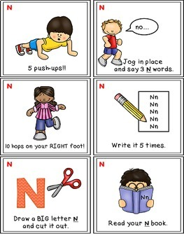 Alphabet Activities Letter Sound Task Cards the Letter N