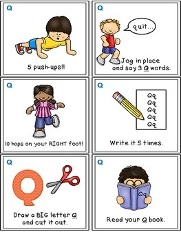 Alphabet Activities - Letter Sounds - Read, Think & Move Task Cards - Q