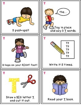 Alphabet Activities - Letter Sounds - Read, Think & Move Task Cards - T