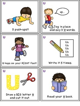 Alphabet Activities - Letter Sounds - Read, Think & Move Task Cards - U