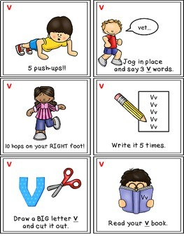 Alphabet Activities - Letter Sounds - Read, Think & Move Task Cards - V