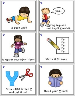 Alphabet Activities - Letter Sounds - Read, Think & Move Task Cards - Y