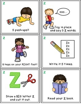 Alphabet Activities - Letter Sounds - Read, Think & Move Task Cards - Z