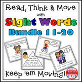 Sight Word Activities - Read Think and Move Task Card BUNDLE 11-20