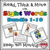 Sight Word Activities - Read Think and Move Task Cards BUNDLE 1-10