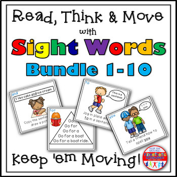 Sight Word Activities: Read, Think & Move Task Cards BUNDLE 1-10
