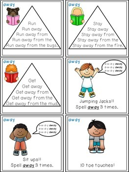 Sight Word Activities - Read Think and Move Task Cards for the Sight Word AWAY