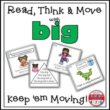 Sight Word Activities - Read, Think & Move Task Cards - BIG