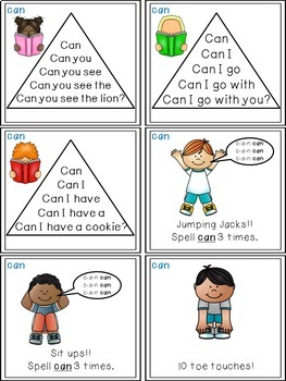 Sight Word Activities - Read, Think & Move Task Cards - CAN