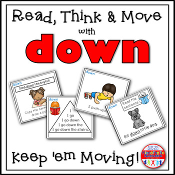 Sight Word Activities - Read, Think & Move Task Cards - DOWN