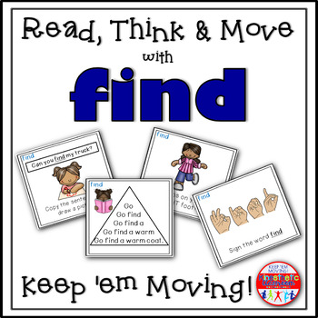 Sight Word Activities - Read, Think & Move Task Cards - FIND
