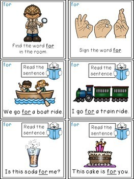 Sight Word Activities - Read, Think & Move Task Cards - FOR