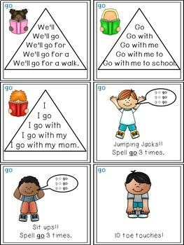 Sight Word Activities - Read, Think & Move Task Cards - GO