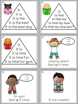 Sight Word Activities - Read, Think & Move Task Cards - IS