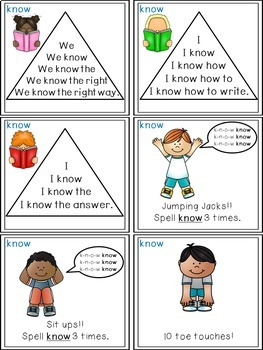 Sight Word Activities - Read, Think & Move Task Cards - KNOW