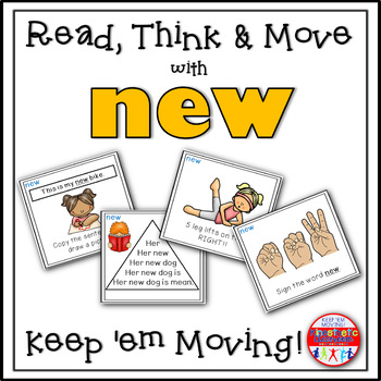 Sight Word Task Cards - Read, Think & Move with NEW