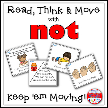 Sight Word Activities - Read, Think & Move Task Cards - NOT