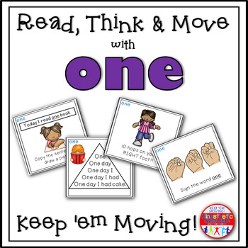 Sight Word Activities - Read, Think & Move Task Cards - ONE