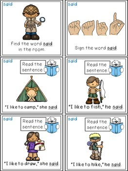 Sight Word Activities - Read, Think & Move Task Cards - SAID