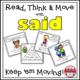 Sight Word Activities - Read Think and Move Task Cards for the Sight Word SAID