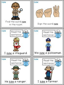 Sight Word Activity Task Cards SAW