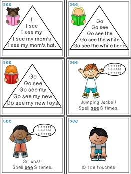 Sight Word Activities - Read, Think & Move Task Cards - SEE