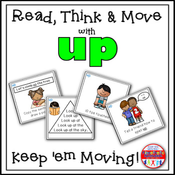 Sight Word Activities - Read, Think & Move Task Cards - UP