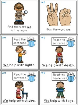 Sight Word Activities - Read, Think & Move Task Cards - WE