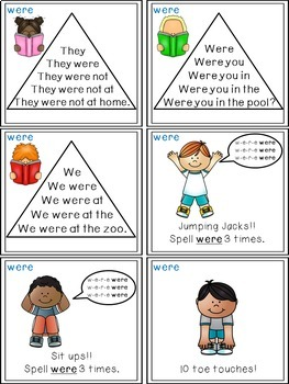 Sight Word Activities - Read, Think & Move Task Cards - WERE