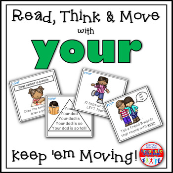 Sight Word Activities - Read, Think & Move Task Cards - YOUR