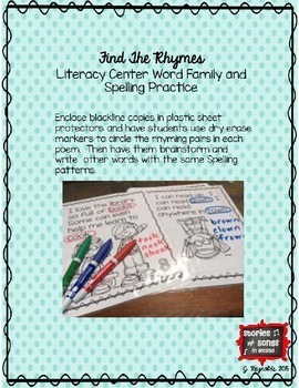 Read! Think! Rhyme! Book Buddy/Partner Poem Booklet & Scoot Activities