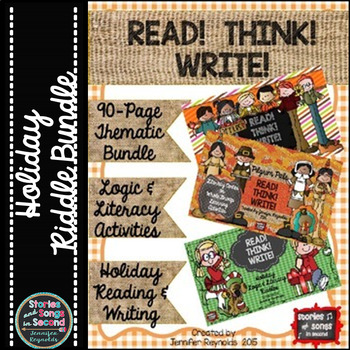 Read! Think! Write! Fall and Winter  Holiday Logic & Literacy Riddle Bundle