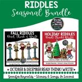 Fall and Winter Holiday Reading  and Writing BUNDLE-- Logi