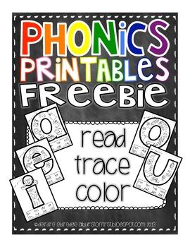 Phonics Printables- Read, Trace & Color Short Vowels ...