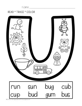 Phonics Printables- Read, Trace & Color Short Vowels FREEBIE
