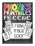 Phonics Printables- Read, Trace & Color Short Vowels FREEBIE