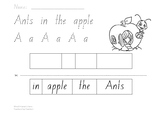 Read, Trace & Cut - Ants in the apple - Letter A worksheet
