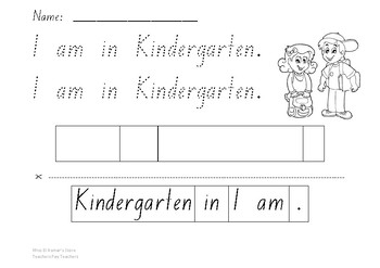Read, Trace & Cut - I am in Kindergarten sentence