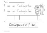 Read, Trace & Cut - I am in Kindergarten sentence