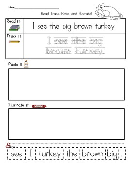 Read, Trace, Paste, and Illustrate - FRY and Thanksgiving words