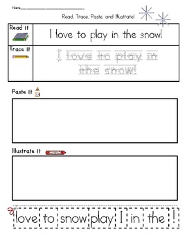 Read, Trace, Paste, and Illustrate - FRY and Winter Words Sentences